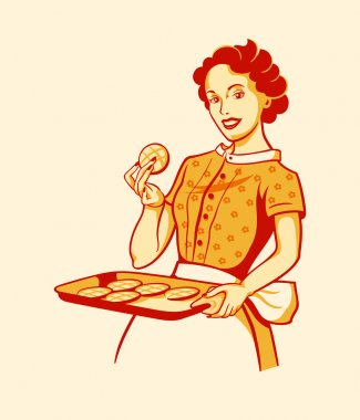 Retro housewife cooking