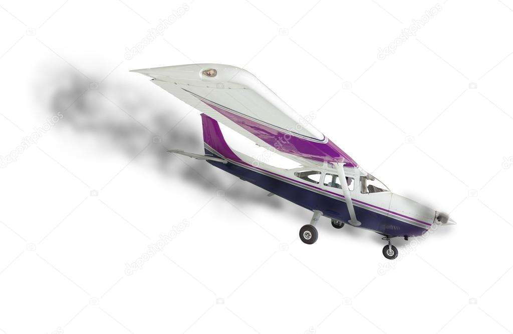 Cessna 172 With Smoke Coming From Engine on White — Stock
