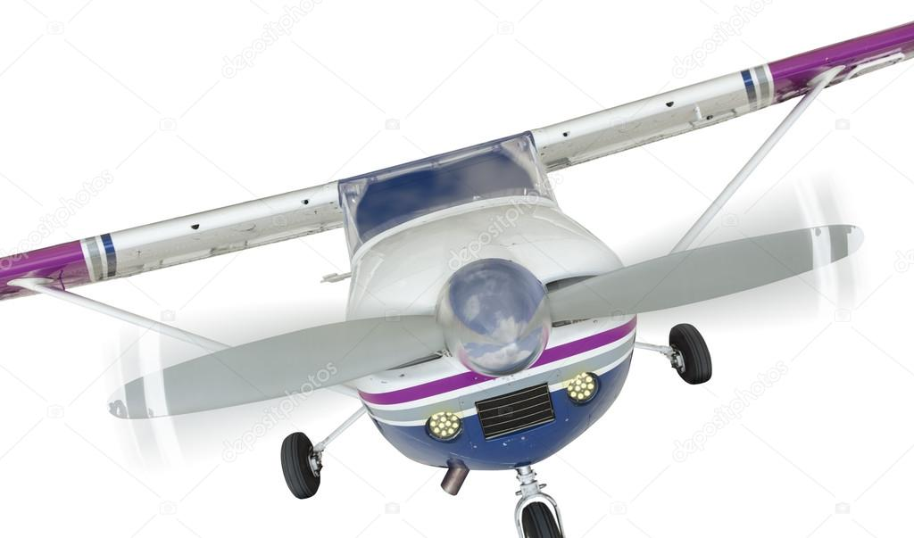 Front Of Cessna 172 Single Propeller Airplane On White Stock Photo
