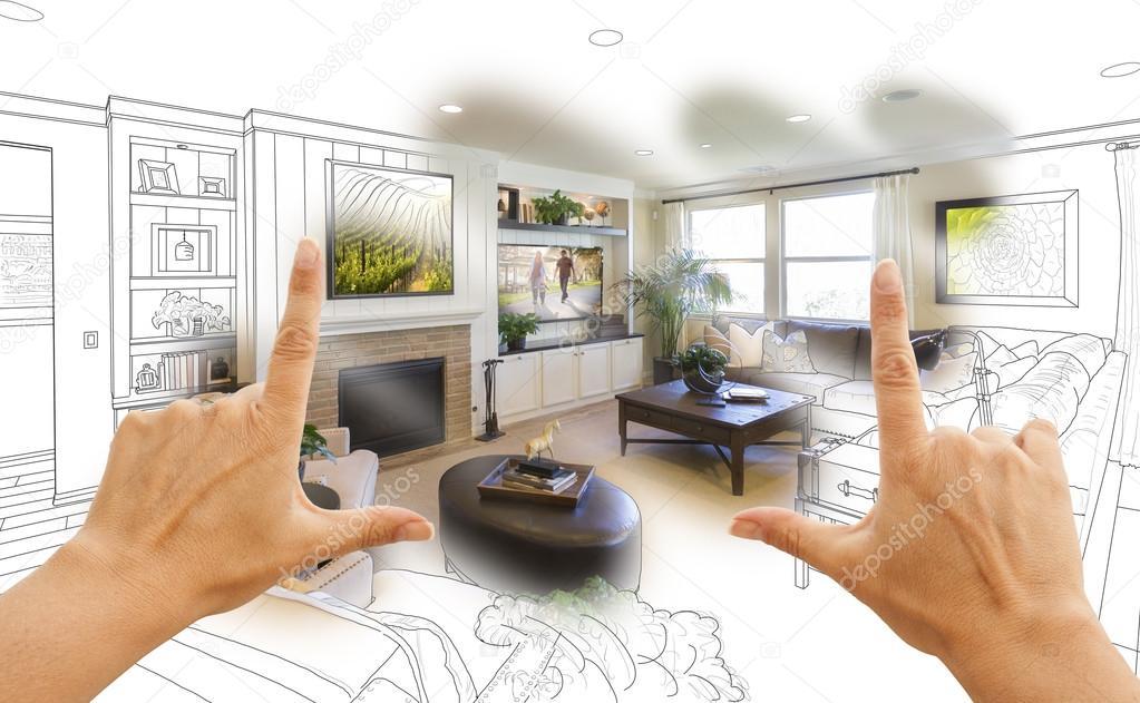 Hände, die Rahmung benutzerdefinierte Wohnzimmer Zeichnung ...