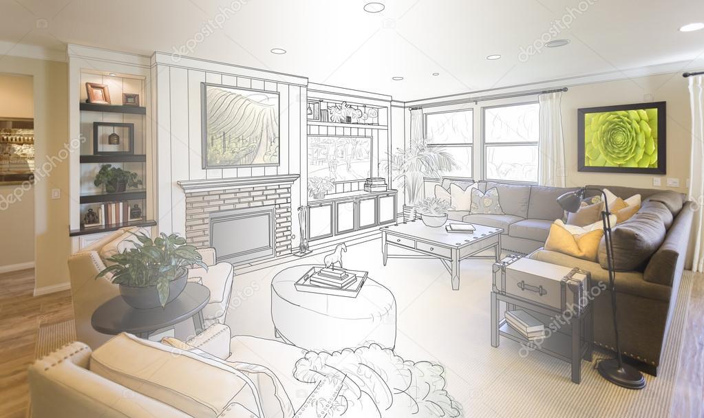 Woonkamer tekening gradatie in foto — Stockfoto © Feverpitch #103275728