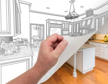 Hand Turning Page of Custom Kitchen Drawing to Photograph.