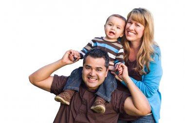 Happy Mixed Race Ethnic Family On White