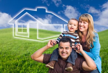 Mixed Race Family with Ghosted House Drawing Behind