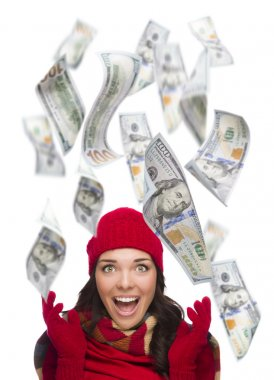 Young Excited Woman with Hundreds of Dollars Falling Around Her