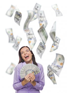 Happy Woman Holding Thousands of Dollars with Many Others Falling Around Her
