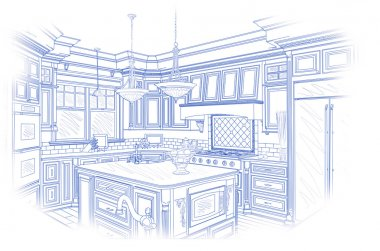 Blue Custom Kitchen Design Drawing on White