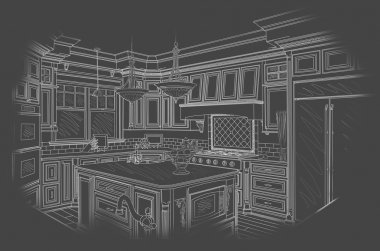 White Custom Kitchen Design Drawing on Grey