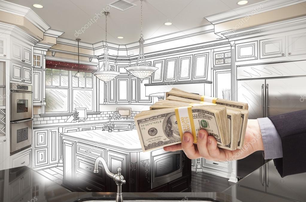 Zeichnung und Foto Combinat Hand Holding Cash über Küche entwerfen ...