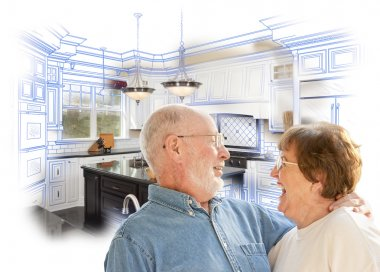 Senior Couple Over Kitchen Design Drawing and Photo on White