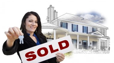 Woman, Keys, Sold Sign Over House Drawing and Photo on White