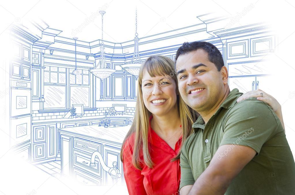 Mixed Race Couple Sur Cuisine Design Dessin Blanc Photographie