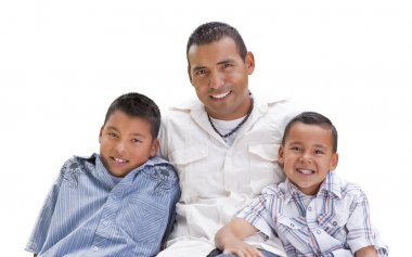 Hispanic Father and Sons on White