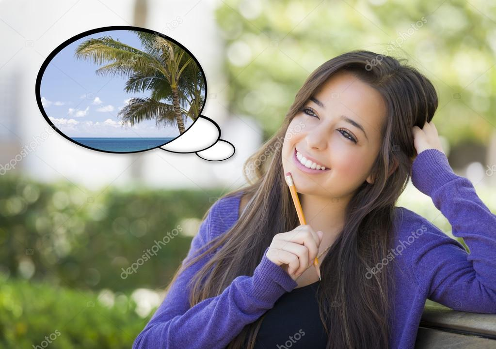 Pensive Woman with Tropical Scene Inside Thought Bubble