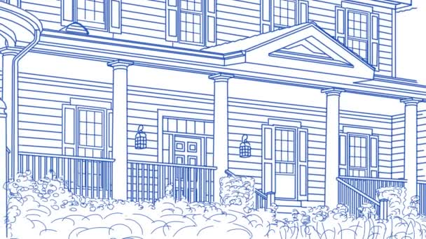 Rajza a ház vissza pásztázás és áttéréskor eladó jel és kész otthon