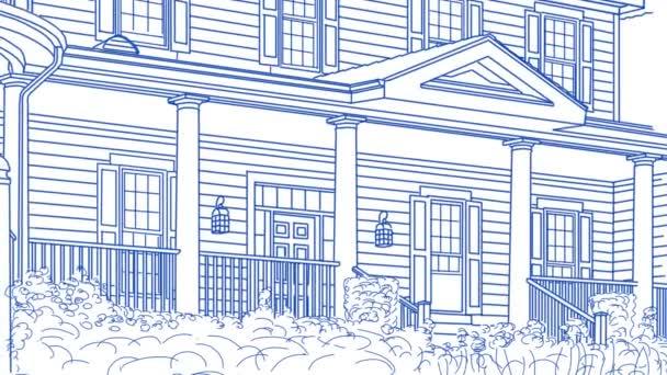 Rajz ház pásztázás és áttéréskor, hogy felfedje eladott otthon eladó ingatlan jel és kész otthon