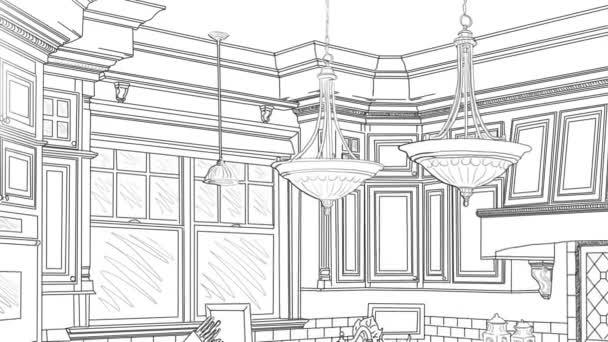 Vlastní kuchyň kreslení rýžování odhalit konečný Design