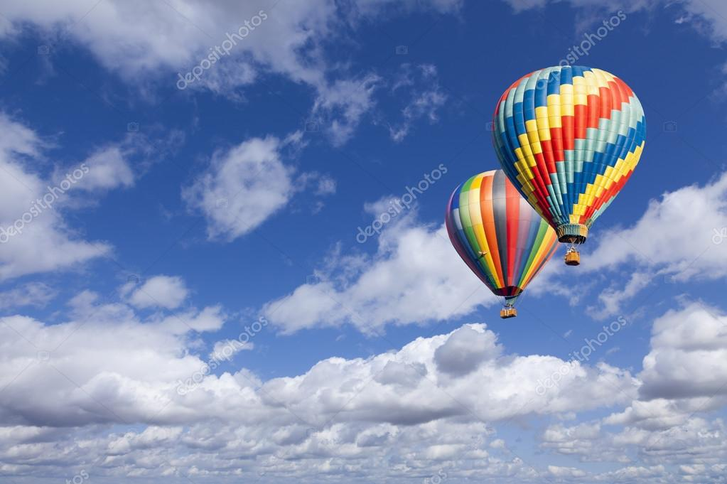 Hot Air Balloons In The Beautiful Blue Sky