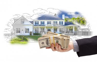 Hand Holding Thousands In Cash Over House Drawing and Photo