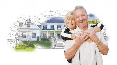 Happy Senior Couple Over House Drawing and Photo on White