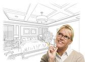 Žena s tužkou nad ložnice Design, kreslení a foto Combinat
