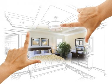 Hands Framing Custom Bedroom Drawing Photograph Combination