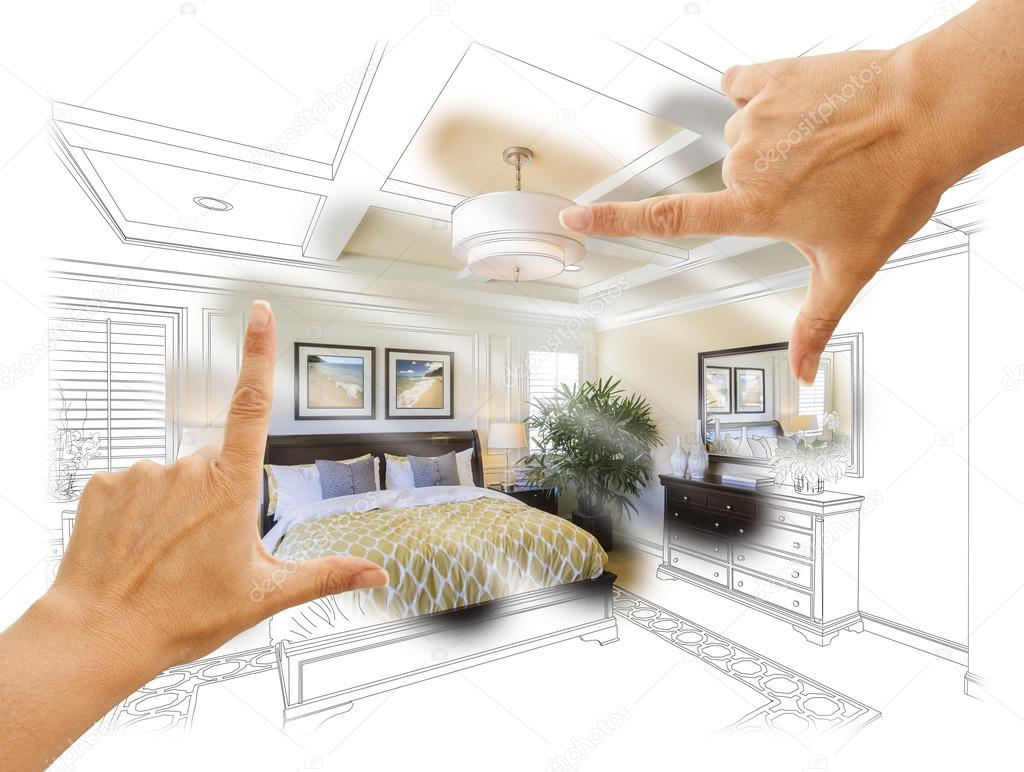 Hands Framing Custom Bedroom Drawing Photograph Combination Stock Photo C Feverpitch 89800320