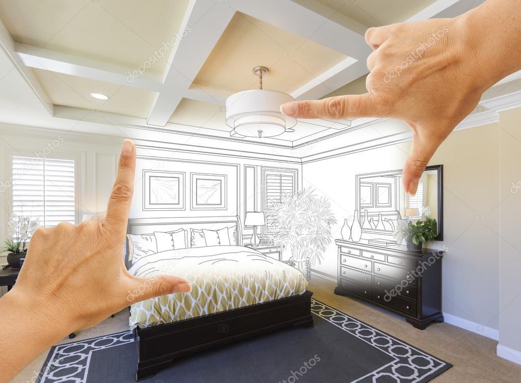 Hände, die Rahmung benutzerdefinierte Schlafzimmer Zeichnung ...