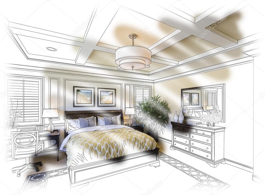 Egyedi hálószoba Design, rajz és fotó-összeállítás — Stock Fotó ...