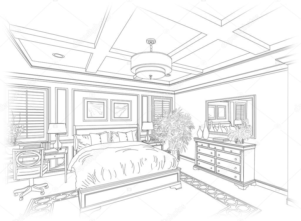 Dessin au trait d\'une chambre à coucher — Photographie ...