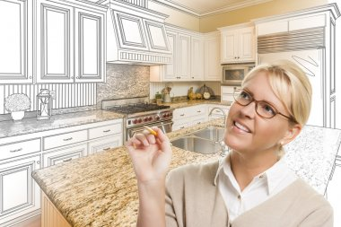 Woman With Pencil Over Custom Kitchen Drawing and Photo Combinat