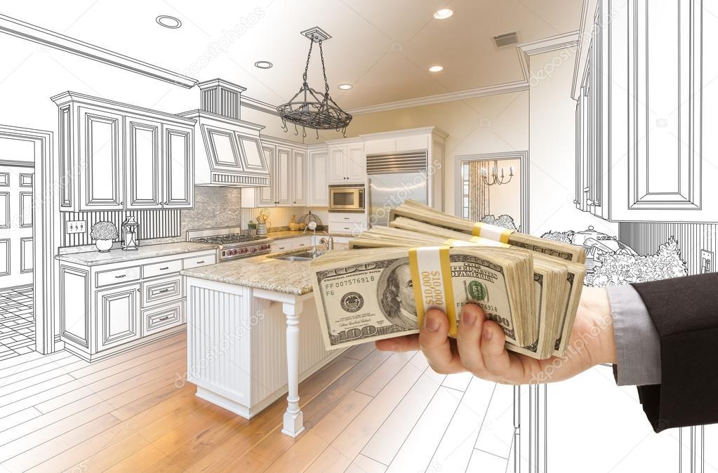 und Foto Combinat Hand Übergabe von Bargeld über Küche entwerfen ...