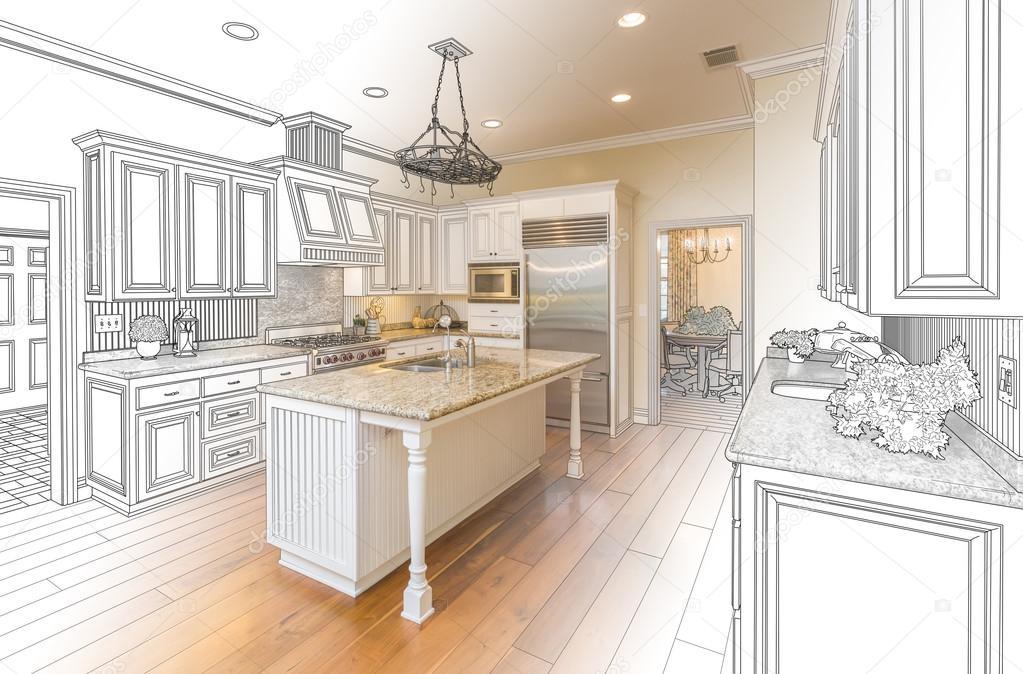Aangepaste keuken ontwerp tekening en gradated foto combinatie