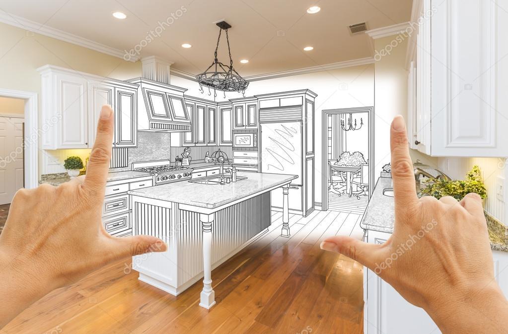 Kéz kialakítása egyedi konyha Design rajz és a négyzet alakú ...