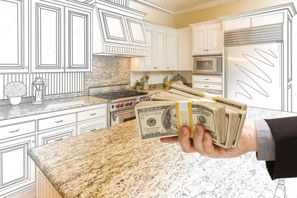 Zeichnung und Foto Combinat Hand Übergabe von Bargeld über Küche ...