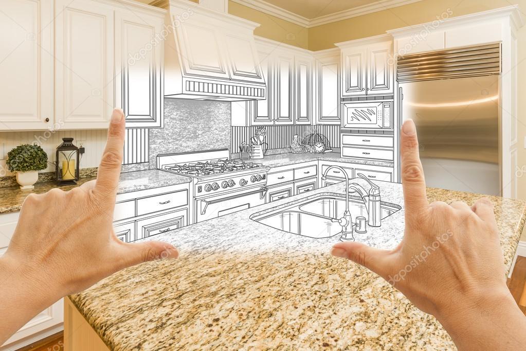 Hände, die Rahmung benutzerdefinierte Küche entwerfen zeichnen und ...