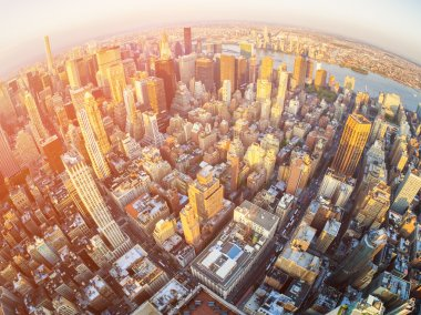 Aerial view of a sunset in Manhattan