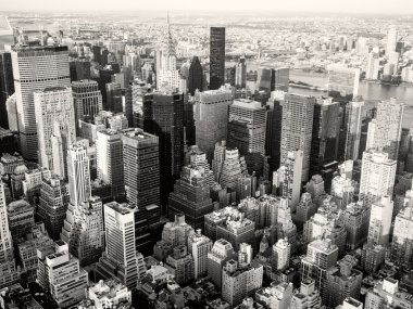 Black and white view of New York City including the Chrysler Building