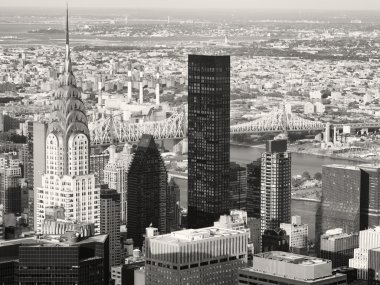Black and white aerial view of New York including the Chrysler B