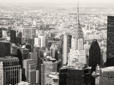 Black and white view of midtown Manhattan in New York