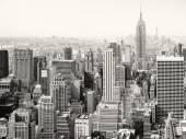 Černá a bílá pohled mrakodrapů v New Yorku