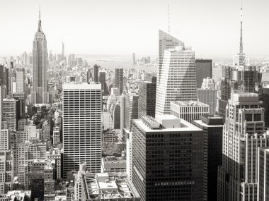 Black and white view of skyscrapers in New York