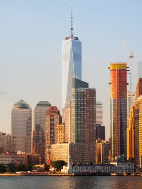 Lower Manhattan in New York City at sunset