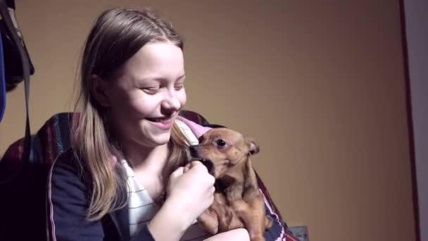 Ragazza teenager con un cagnolino. Giocare e prendere in giro
