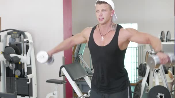 Portrait of a young bodybuilder in a gym