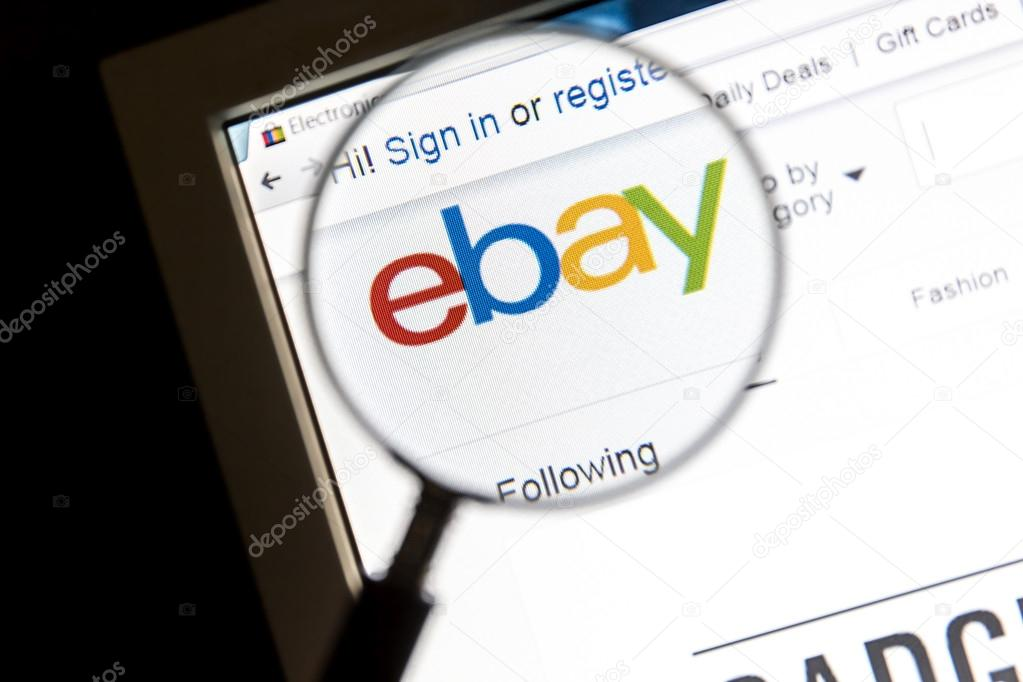 ebay website under a magnifying glass