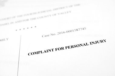 Legal Papers Complaint for Personal Injury