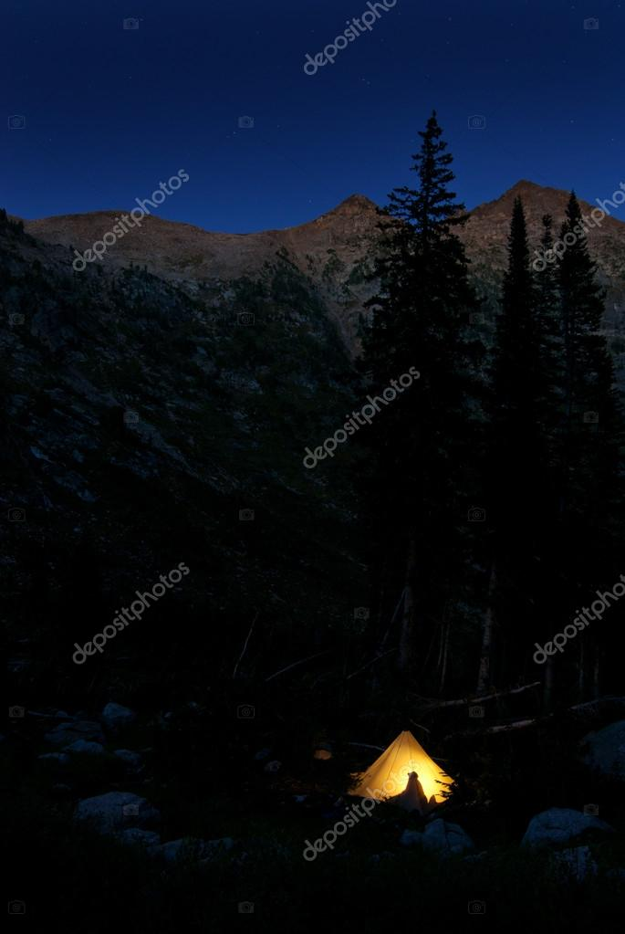 C&ing in Glowing Tent at Night in Mountains u2014 Stock Photo #54002649 : glowing tent - memphite.com