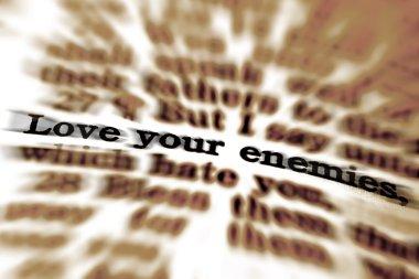 Detail closeup of Scripture quote Love Your Enemies stock vector