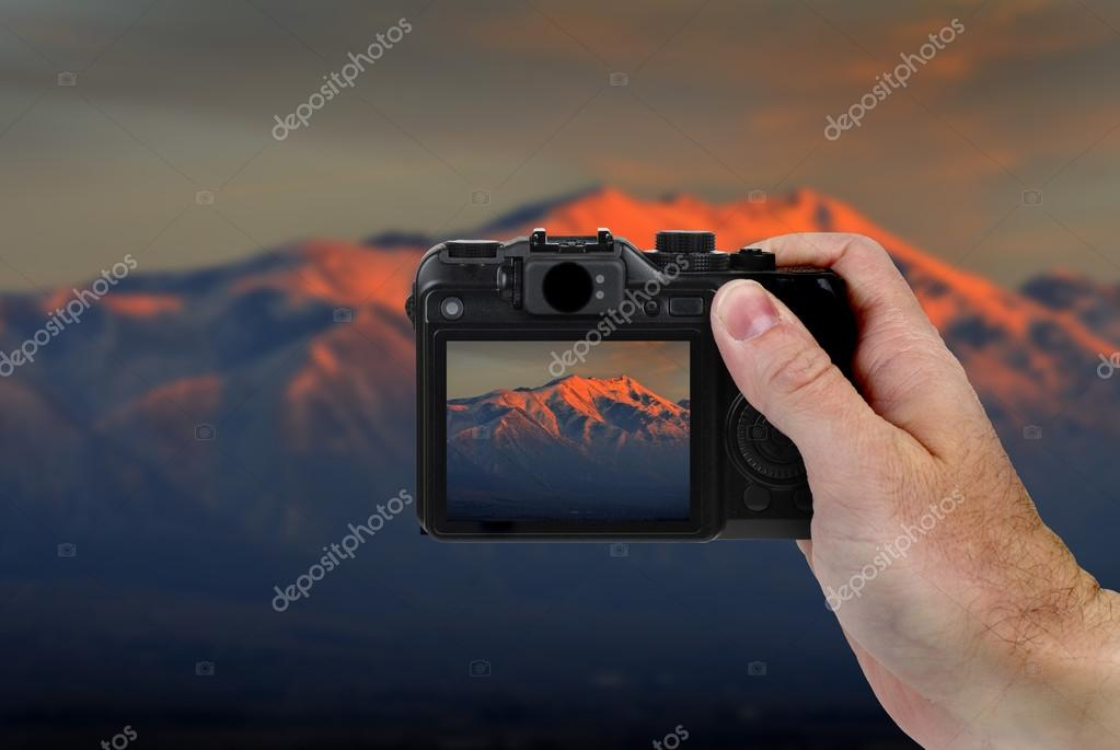 Camera Picture of Mountains at Sunset